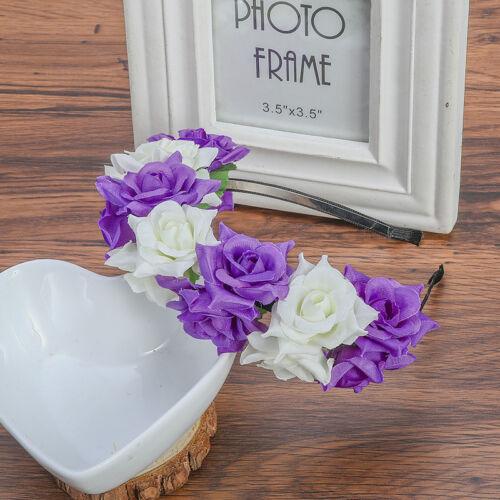 Bridal Floral Couronne Serre-Tête Fleur Rose Hairband Guirlande Mariage Coiffure Soirée