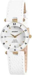 Akzent-Damen-Uhr-Watch-Strass-weiss-cutglas-goldfarben-Damenuhr-Armbanduhr