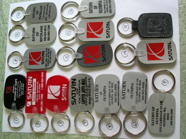 Saturn Keychain Metal Dealership Key chain , (Choice of 1) (**)
