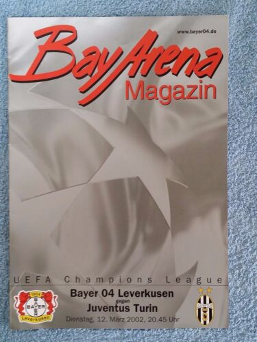 2002 BAYER LEVERKUSEN v JUVENTUS PROGRAMME CHAMPIONS LEAGUE 2ND GROUP STAGE