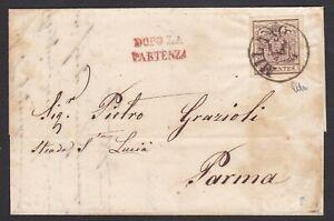 LOMBARDO-VENETO-30c-su-lettera-1858-da-Milano-x-Parma-con-034-Dopo-la-partenza-034