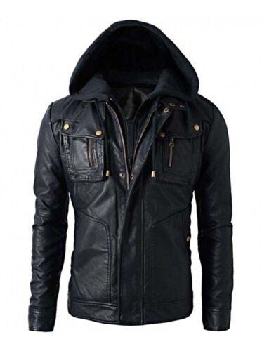 Detach Hood New Men/'s Motorcycle Brando Style Biker Leather Hoodie Jacket