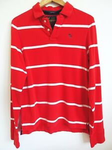 789d0a7f60 Abercrombie & Fitch Mens Red White Striped Long Sleeve Rugby Muscle ...