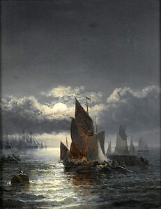Dream-art-oil-painting-seascape-sail-boats-in-moon-night-with-ocean-waves-36-034