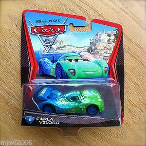 Disney-PIXAR-Cars-2-CARLA-VELOSO-Brazil-WORLD-GRAND-PRIX-diecast-8-racer-WGP