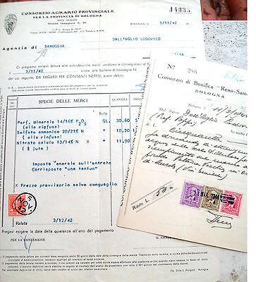 Antiques 1944 Sales Invoice Samoggia Savigno Bolognese With Marches Revenue Stamps Crazy Price