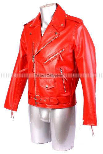 Men/'s Brando Red Bikers Jacket Motorcycle Leather Jacket Cowhide Leather