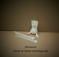 Miniature White Corset And White nylon Stockings Set