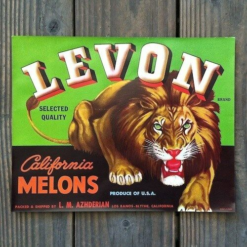 Vintage Original 1940s LEVON CALIFORNIA MELONS Fruit Crate Box Label NOS
