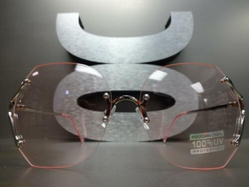 OVERSIZED VINTAGE RETRO Style SUN GLASSES Silver Rimless Frame Light Pink Lens