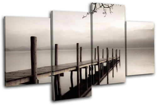Lake Jetty Pier  Sunset Seascape MULTI CANVAS WALL ART Picture Print VA