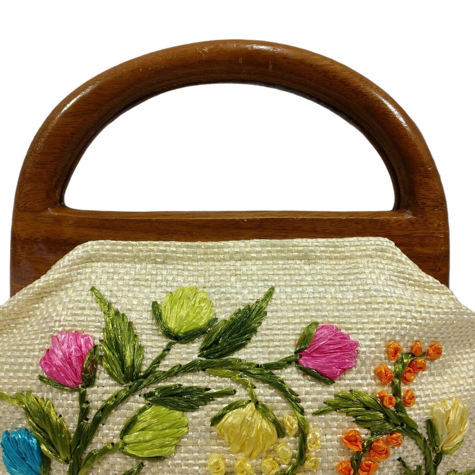 Vintage 60s Raffia Handbag Floral Print Top Handl… - image 3