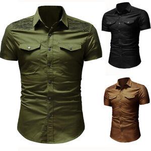 Men-039-s-Luxury-Casual-Denim-Shirt-Short-Sleeve-Slim-Fit-Business-Dress-Shirts-Tops