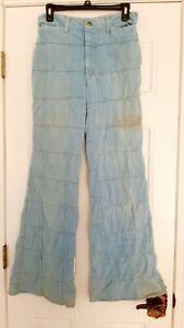 Autentico Vintage 70s Patchwork Denim Jeans Acampanados Parte Inferior De Campana Ebay