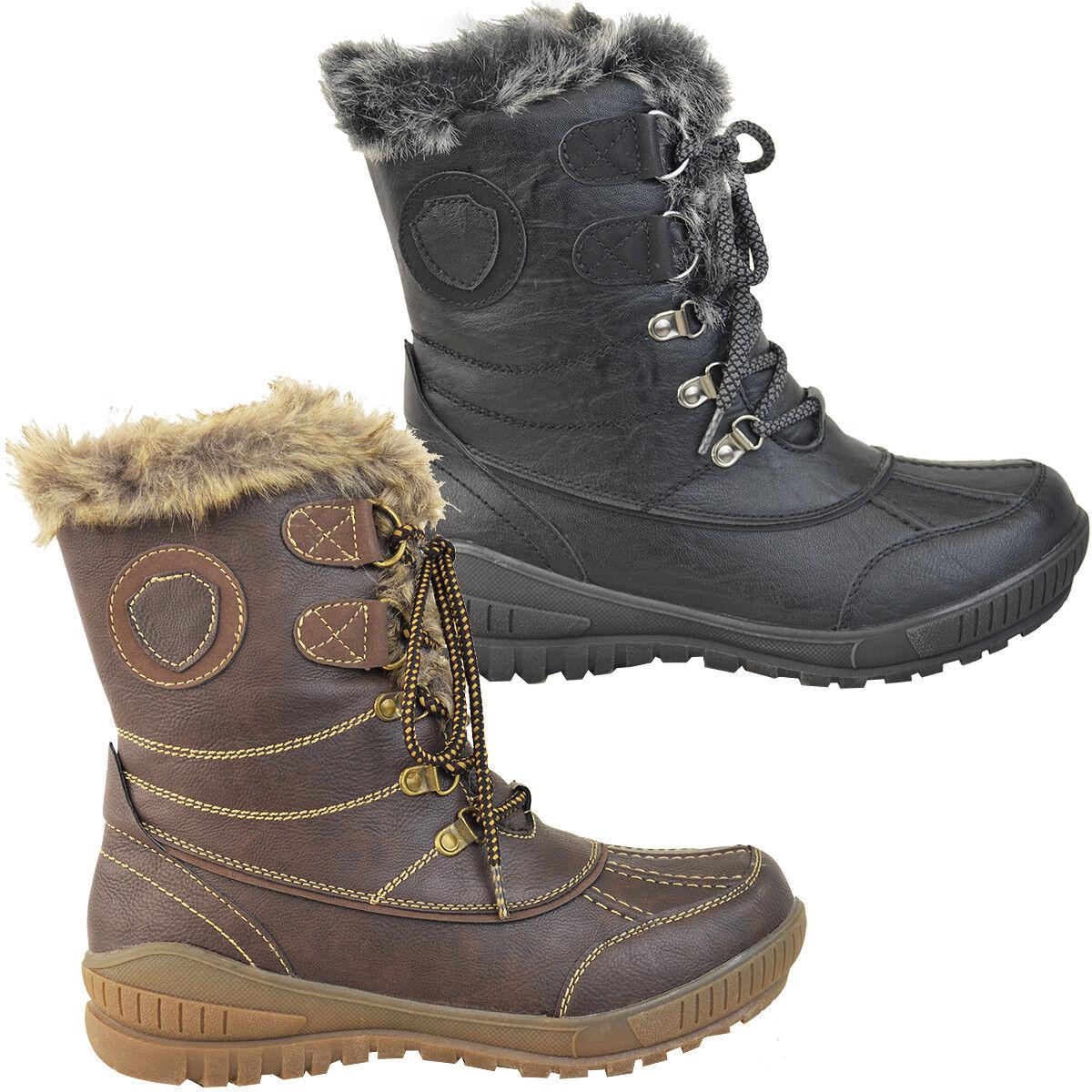 Señoras para mujer Plana cálido Forrado De Piel Suela agarre Invierno Nieve Botines Zapatos Talla