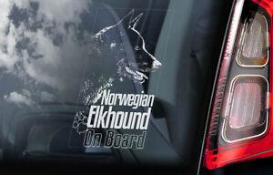 Noruego-Cazador-de-Alces-a-Bordo-Coche-Ventana-Pegatina-Elghund-Perro-V03