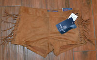 Boom Boom Jeans Juniors Shorts Fringe Ties Washable Stretch Suede Size 3 Or 13
