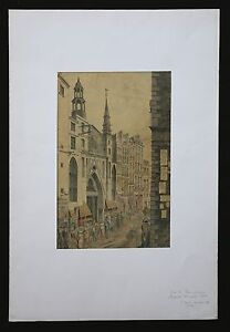 Rue-de-Paris-animee-aquarelle-epoque-napoleon-bonaparte-1ere-moitie-19e-s