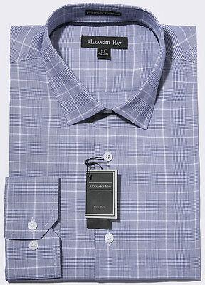 Alexander Hay Premier Range Two Fold Cotton Easy Iron Purple Check Shirt G003
