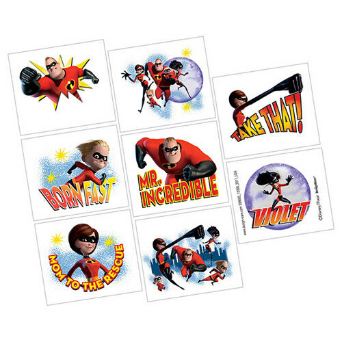 INCREDIBLES 2 TEMPORARY TATTOOS ~ Birthday Party Supplies Favors Prize Reward