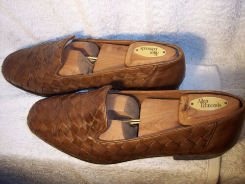Bragano 10M Brown Woven Leather Loafers Shoes