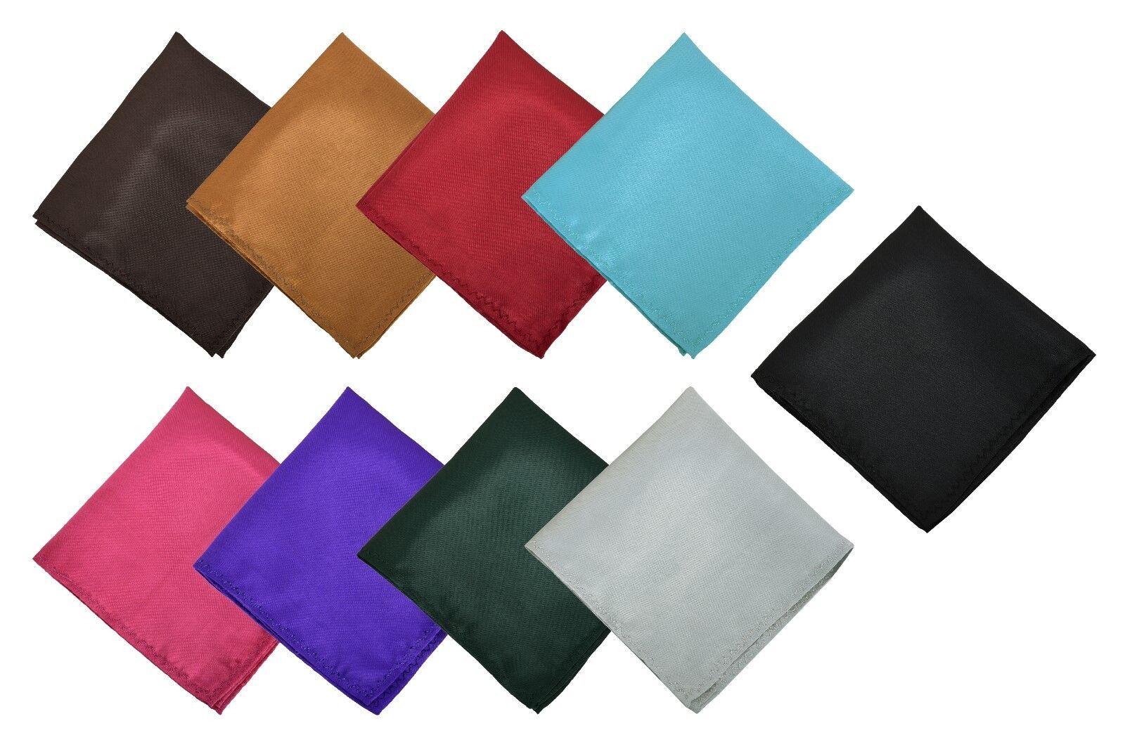 New Satin Solid Plain Wedding Mens Pocket Square Office Suit Handkerchief Hanky