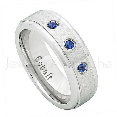 9.5 0.21ctw Amethyst 3-Stone Cobalt Ring Jewelry Avalanche 7MM Comfort Fit Polished Dome Cobalt Chrome Wedding Band February Birthstone Ring