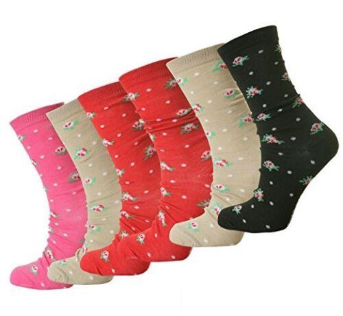 12 PAIRS Ladies Printed Socks Girls Cotton Rich Socks everyday socks UK 4-7