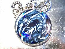 Yugioh Card Glass Pendant Keychain Japanese Necklace Blue Eyes White Dragon cool