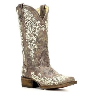 LADIES-CORRAL-SQUARE-TOE-BROWN-CRATER-BONE-EMBROIDERY-WEDDING-BOOT-A2663