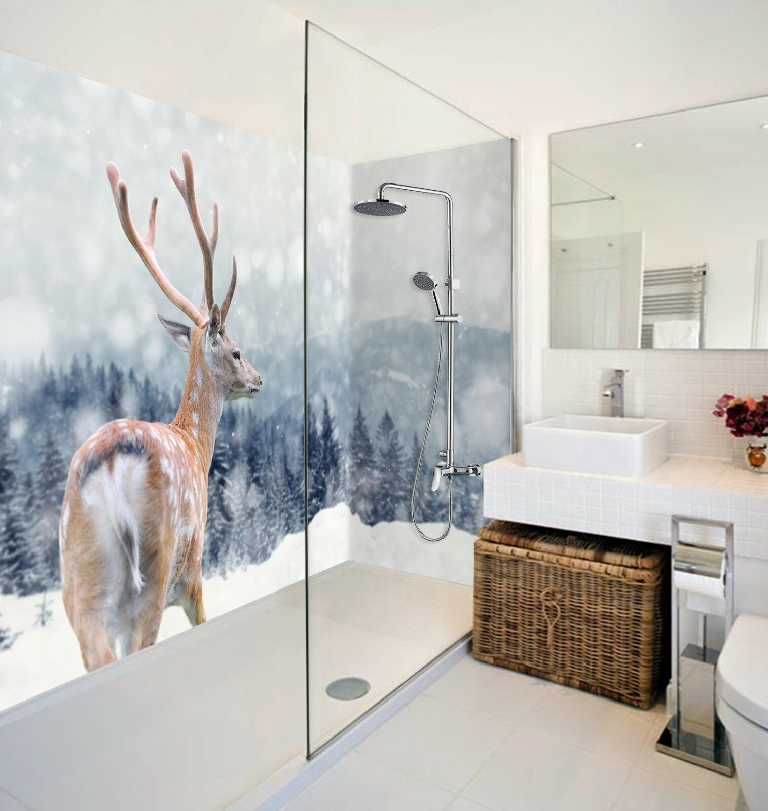 3D Snow Sika Deer 64 WallPaper Bathroom Print Decal Wall Deco AJ WALLPAPER AU