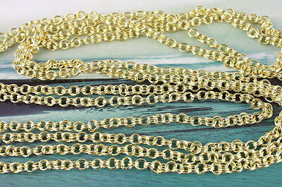 2 Meter Gold Plated double-jumpring link chain 5mm M18678G