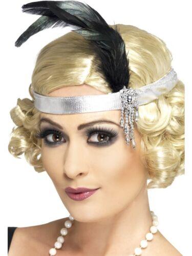 1920/'s Donna Argento #satin anni 1920 20 CHARLESTON Fascia Piuma Accessorio Costume