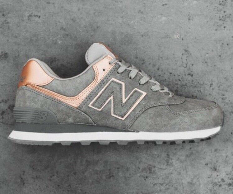femmes 's New Balance 574 ROSE GOLD Gris Bronze Copper 9.5 Sneakers Chaussures WL574PBG
