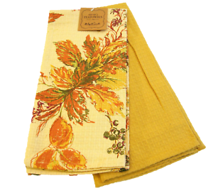 APRIL CORNELL KITCHEN TOWELS BLUE GOLD GREEN PAISLEY 100/% COTTON  NWT