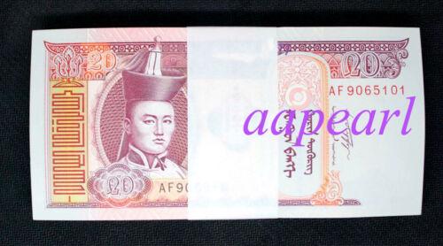 a bundle 100pcs Mongolia 20 Tugrik Banknotes brand new Collections Uncirculateds