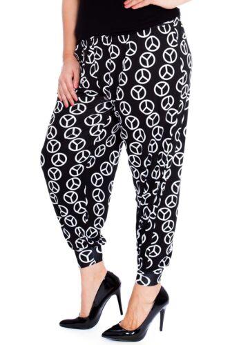 Womens Harem Trouser Plus Size Ladies Ali Baba Peace Print Yoga Pant Nouvelle
