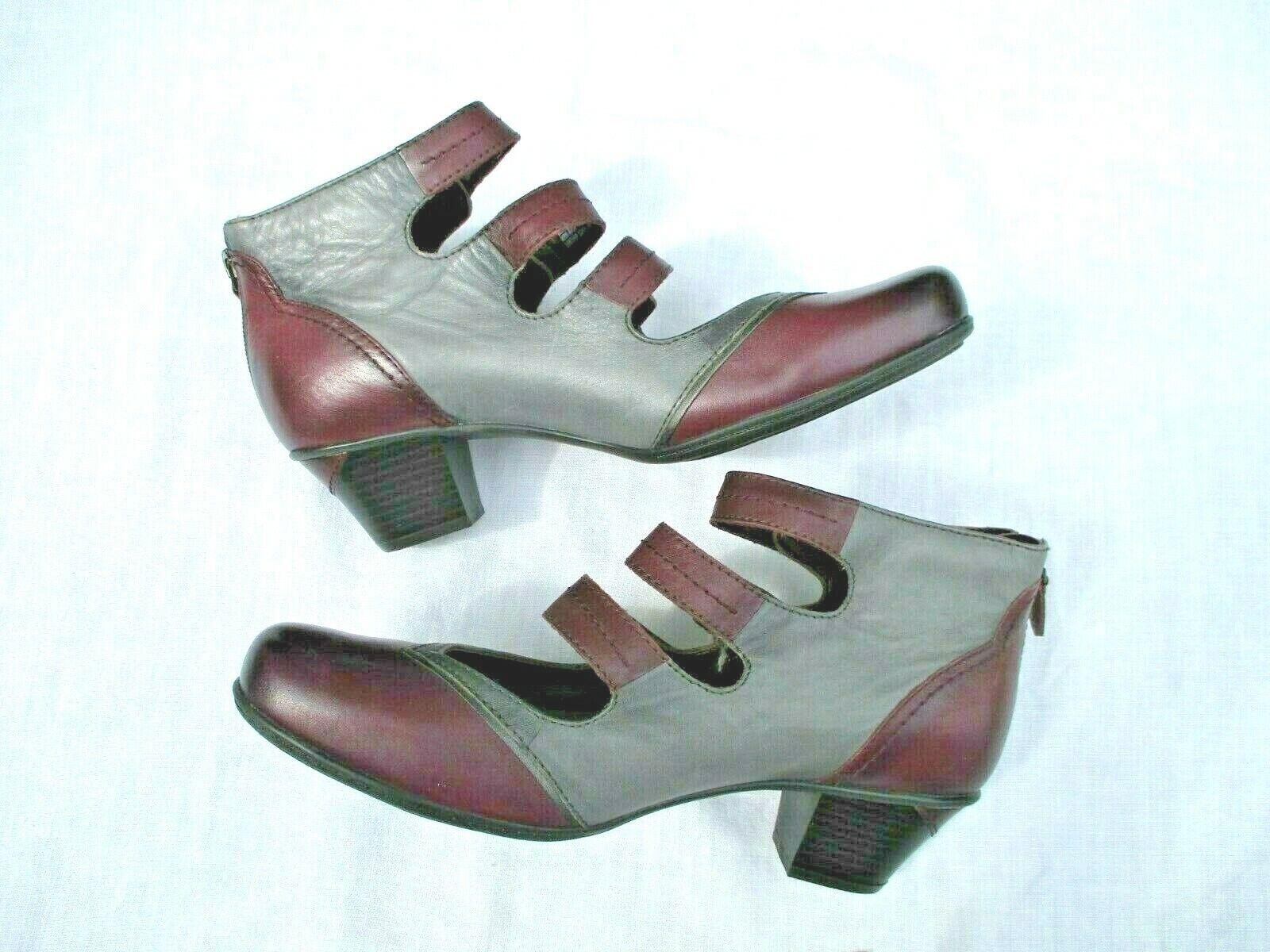 Earth Serano Womens sz 10B boot Shoe leather purple gray adjustable Maryjane