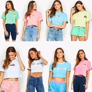 Ellesse-Women-Crop-Cotton-T-Shirt-Summer-Top-in-Pastel-Colours