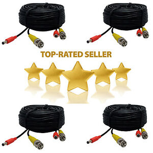 4x 100ft Security Camera Cable CCTV Video Power Wire BNC RCA Black Cord DVR