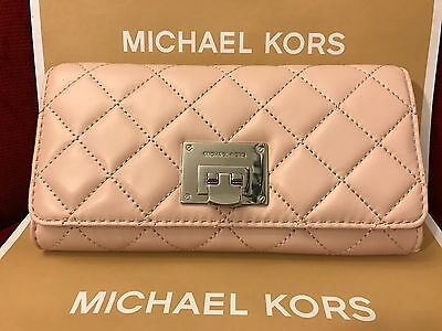 NWT MICHAEL KORS SOFT QUILTED LEATHER ASTRID CARRYALL WALLET-BALLET/SILVER-HRDWR