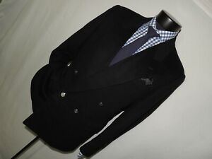 Bespoke-Double-Breasted-solid-Black-flannel-wool-custom-blazer-size-42-R