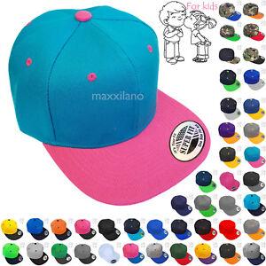 Baseball Cap Kids Size Solid Blank Boys Girls Snapback Hat Visor Flat Brim New