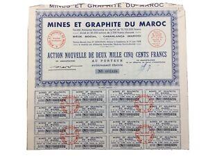 Casablanca Maroc 1954 Merceron Mines et Graphite du Maroc Rare Action