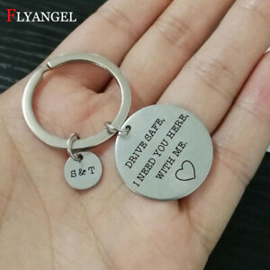 Couples Jewelry Customized Name Keychain Stainless Steel Engraved Drive Safe Tag