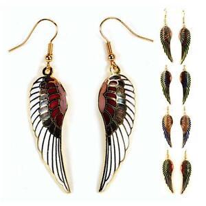 ANGEL-WING-EARRINGS-Gold-Plated-Cloisonne-Enamel-Dangle-White-Red-Blue-Green-NEW