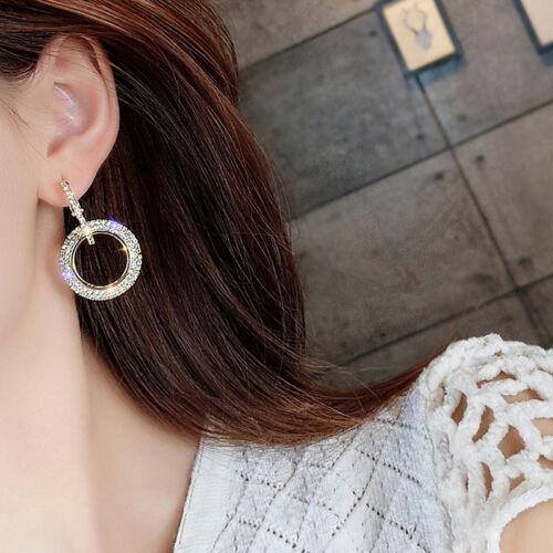Redondo Círculo Aro Pendientes para Mujer con Estrás Pendiente de Moda Joyería Regalo DP