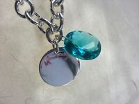 Only One Paraiba With Silver Tag Necklace