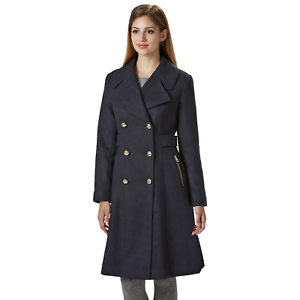 Women's Jessica Simpson Double Breasted Reefer Coat Navy L  NK7TQ-898