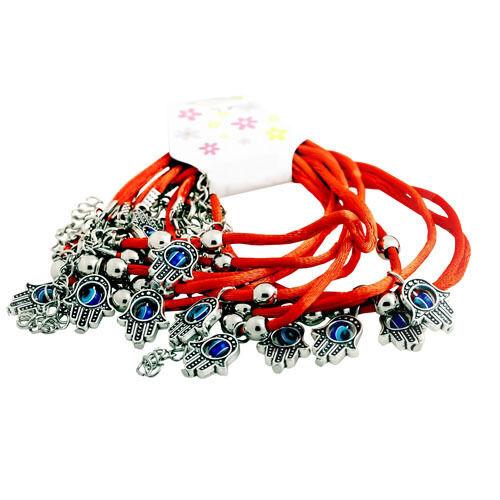 Douzaine de Rouge String Kabbalah Bracelet Avec Mauvais Oeil Lucky Hamsa Charms